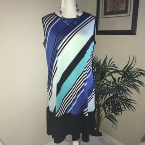 Tiana B. Stretch Jersey Shift Ruffled Hem Dress